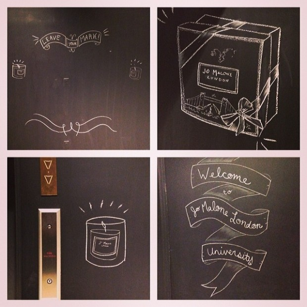 Jo Malone wall drawings at The Revere Hotel