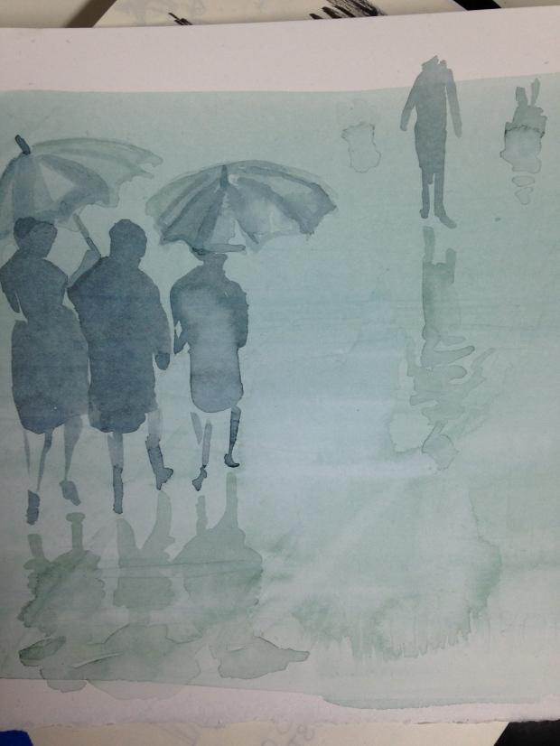 London Rain painting from launch party